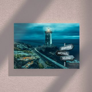 Kermorvan Lighthouse Multi-Names Canvas - Family Street Signs Customized With Names- 0.75 & 1.5 In Framed -Wall Decor, Canvas Wall Art