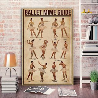 Ballet Mime Guide Vertical 0.75 In & 1.5 In Framed Canvas - Home Decor, Canvas Wall Art