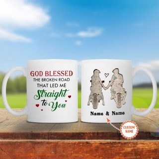 Personalized Riding God Blessed The Broken Road That led Me Straight To You With Names Mug- Anniversary Gifts- Best Cup Gift