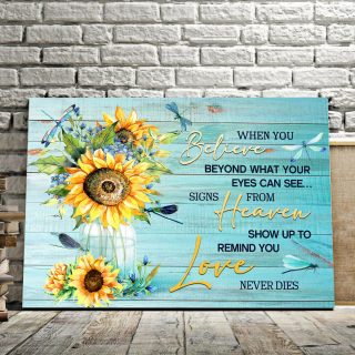 Believe Heaven Love- Best Gift For Sunflowers And Dragonflies Lovers 0.75 and 1,5 Framed Canvas - FarmHome Decor - Wall Decor