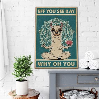 Llama Eff You See Kay Why Oh You Canvas Wall Art - 0.75 & 1.5 In Framed -Wall Decor, Canvas Wall Art