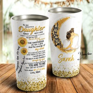 Sunflower To My Daughter I Love You To The Moon and Back -Mother and daughter - Travel Cup, Cup for Daughter, Best Daughter Gift