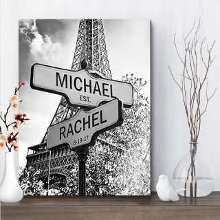 The Eiffel Tower Paris Multi-Names Premium Canvas - Street Signs Customized With Names- 0.75 & 1.5 In Framed -Wall Decor, Canvas Wall Art