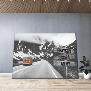 Personalized Road Trip and Mountain Canvas - Street Signs Customized With Names - 0.75& 1.5 In Framed -Wall Decor, Canvas Wall Art