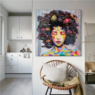 African American Canvas -Wall Art Afro Woman Painting for Living Room, Bedroom Wall Decor -Canvas 0.75 In & 1.5 In Framed -Canvas Wall Art