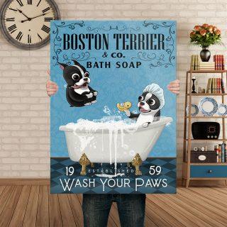 Boston Terrier Dog Bath Soap Company 0.75 & 1.5 In Framed Canvas - Wall Decor, Canvas Wall Art
