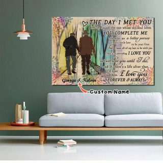 LGBT Pride Gay Old Couple The Day Horizontal0.75 & 1.5 In Framed Canvas - Home Decor, Wall Art