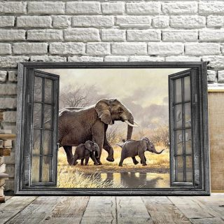 The Elephant In The Outdoor 0.75 & 1.5 In Framed Canvas - Elephant Lover Gifts- Family Gifts- Home Decor, Canvas Wall Art