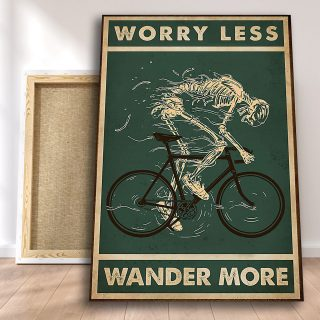 Bicycle Rider Skeleton – Worry Less Wander More Canvas - Home Living- Wall Decor, Canvas Wall Art