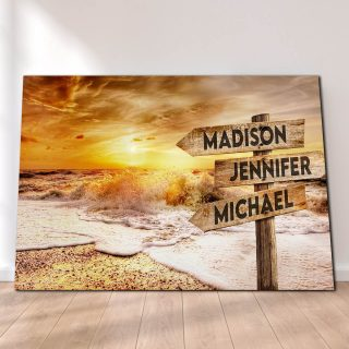 Personalized Beach Sunrise Canvas -Street Signs Customized With Names - 0.75 & 1.5 In Framed -Wall Decor, Canvas Wall Art