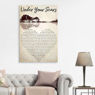 Guitar Godsmack Under Your Scars Lyrics Song Heart Shape 0.75 & 1.5 In Framed Canvas - Couple Gifts- Home Decor- Wall Art