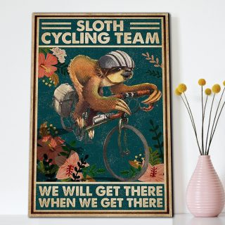 Sloth Cycling Team We Will Get There When We Get There - 0.75 & 1.5 In Framed Canvas - Home Wall Decor, Wall Art