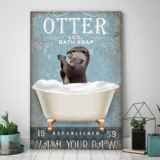 Otter And Co Bath Soap Wash Your Paws Canvas - Funny Canvas For Bathroom 0.75 & 1.5 In Framed - Wall Decor, Canvas Wall Art