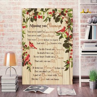 Cardinal Birds Missing You Always Canvas- Memorial Canvas- 0.75 In & 1.5 In Framed -Wall Decor, Canvas Wall Art