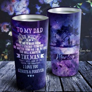 To My Dad - Dad & Son Galaxy - Personalized Tumbler- Father's Day Gift, Dad Tumbler, Dad Cup, Best Dad Gift
