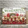 Six Golden Dogs On Christmas Car – It's The Most Wonderful Time Of The Year Canvas - 0.75 & 1.5 In Framed -Wall Decor, Canvas Wall Art