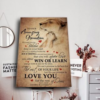 To My Amazing GrandSon I Want You To Believe Deep In Your Heart 0.75 & 1.5 In Framed Canvas - Home Living, Wall Decor, Canvas Wall Art