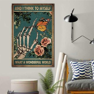 Skulls And I Think To Myself What A Wonderful World Canvas - 0.75 & 1.5 In Framed Canvas - Wall Decor, Canvas Wall Art