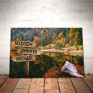 Personalized Autum Forest Canvas -Street Signs Customized With Names - 0.75 & 1.5 In Framed -Wall Decor, Canvas Wall Art