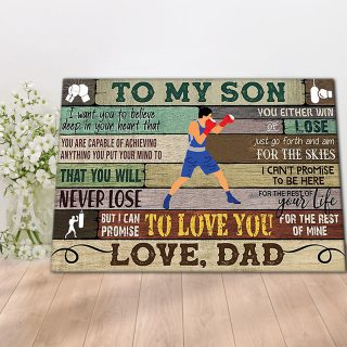 Boxing To My Son I Want You to Believe Deep in Your Heart Canvas- 0.75 & 1.5 In Framed - Home Decor - Canvas Wall Art