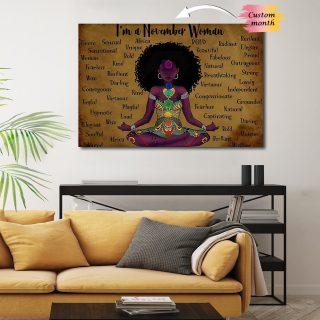 Africa American I Am Black Girl Love Yoga Canvas - 0.75 & 1.5 In Framed -Wall Decor, Canvas Wall Art
