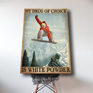 Man In Red Snowboarding – My Drug Of Choice Is White Powder 0.75 & 1.5 In Framed Canvas - Home Living, Wall Decor, Canvas Wall Art