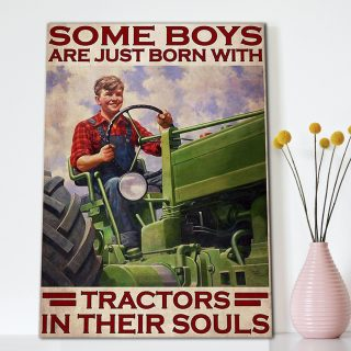 Some Boys Are Just Born With Tractors In Their Soul - 0.75 & 1.5 In Framed Canvas - Home Wall Decor, Wall Art