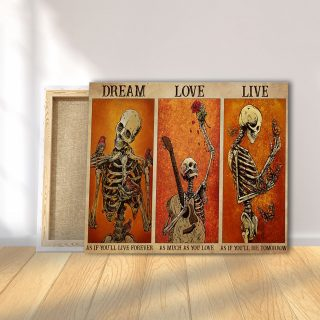 Optimistic Skeletons – Dream As If You'll Live Forever 0.75 & 1.5 In Framed Canvas - Home Decor,Canvas Wall Art