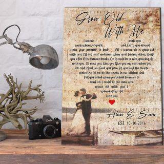 Personalized Grow Old With Me Lyrics Canvas - Anniversary- 0.75 & 1.5 In Framed -Wall Decor, Canvas Wall Art