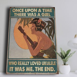 There Was A Girl Who Really Loved Ukulele Canvas- 0.75 & 1.5 In Framed Canvas - Home Wall Decor, Wall Art