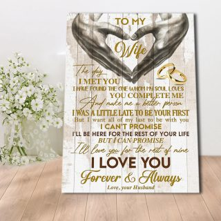 To My Wife I'll Love You For The Rest Of Mine Canvas - Gift For Wife - Canvas Wall Art - Family Quotes- Wall Decor, Canvas Wall Art