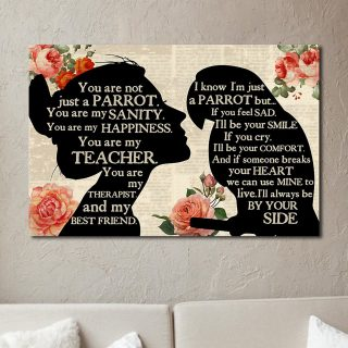 Personalized Girl Loves Parrot – You Are Not Just A Parrot 0.75 & 1.5 In Framed Canvas -Parrot Lover Gifts - Home Decor, Canvas Wall Art
