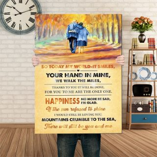 So Today My World It Smiles- Your Hand In Mine We Walk The Miles 0.75 & 1.5 In Framed Canvas - Home Living -Wall Decor, Canvas Wall Art