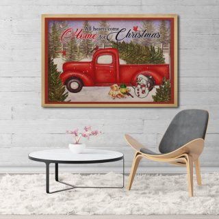 All Hearts Come Home For Christmas Gallery Framed Canvas -0.75 & 1.5 In Framed -Wall Decor, Canvas Wall Art