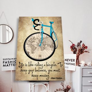 Albert Einstein, Blue Sport Bicycle And The World Map Life Is Like Riding a Bicycle Canvas - Home Living- Wall Decor, Canvas Wall Art