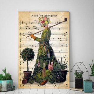 Gardening A Song From Secret Garden Vertical 0.75 and 1,5 Framed Canvas - FarmHome Decor - Wall Decor- Home Living