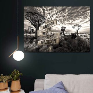Wilderness Paradise Multi-Names Canvas - Street Signs Customized With Names - 0.75 & 1.5 In Framed -Wall Decor, Canvas Wall Art