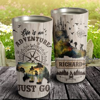 Personalized Life Is An Adventure Just Go Stainless Steel Tumbler- Travel Mug - Birthday Gift Ideas