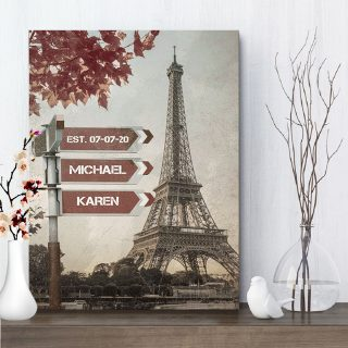 Lovers Crossroads 0.75 & 1.5 In Framed Canvas -Personalized Wall Art With Name- Wedding Anniversary Gifts- Wall Decor, Canvas Wall Art