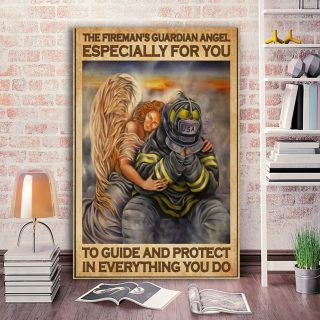 Firefighter Guardian Angel To Guide And Protect In Everything You Do 0.75 & 1.5 In Framed Canvas - Home Living, Wall Decor, Canvas Wall Art