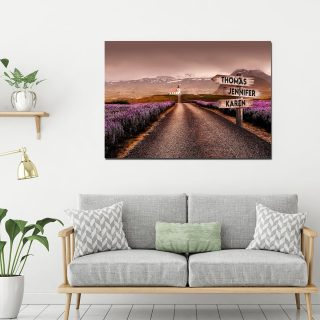 Iceland Multi-Names Canvas - Family Street Signs Customized With Names- 0.75 & 1.5 In Framed -Wall Decor, Canvas Wall Art