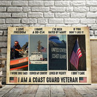 I Am A Coast Guard Veteran – I Love Freedom I Wore Dog Tags Served My Countrycanvas- 0.75 In & 1.5 In Framed -Wall Decor, Wall Art