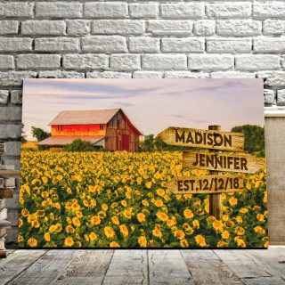 Solar Flower Garden Multi-Names Canvas - Family Street Signs Customized With Names- 0.75 & 1.5 In Framed -Wall Decor, Canvas Wall Art