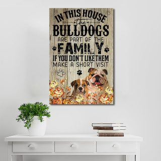 Bulldog Family In This House The Bulldogs Are Part Of The Family 0.75 & 1.5 In Framed Canvas - Home Living, Wall Decor, Canvas Wall Art