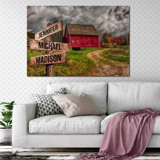 Personalized Home Barn Multi-Names Canvas - Street Signs Customized With Names- 0.75 & 1.5 In Framed -Wall Decor, Canvas Wall Art