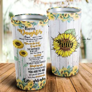 To My Beautiful Daughter Tumbler- Sunflower Personalized Mugs - Daughter Gift- Best Gift
