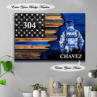 Personalized Name Police Canvas- Best Gifts For Police -Half Flag Police Officer Suit Personalized Canvas- 0.75 & 1.5 In Framed
