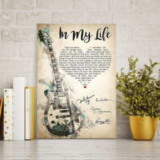 In My Life Lyrics With Heart Typography Guitar And The Beatles Signatures Canvas - 0.75 & 1.5 In Framed -Wall Decor, Canvas Wall Art