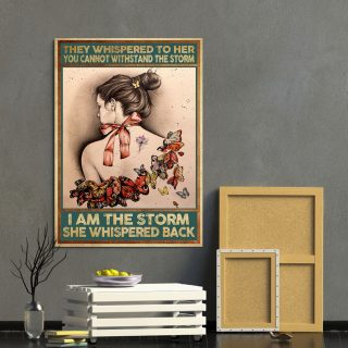 They Whispered To Her You Cannot Withstand The Storm Butterfly Tattoo Gir Canvas Prints- Canvas Wall Art - 0.75 & 1.5 In Framed -Wall Decor