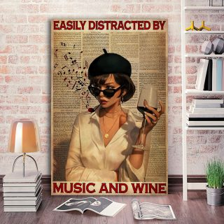 Girl Smoking With Music And Wine – Easily Distracted By Music And Wine - 0.75 & 1.5 In Framed - Home Wall Decor, Wall Art